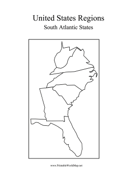 Southern State Map.The Southern States In The U S That Line The Atlantic Ocean Include