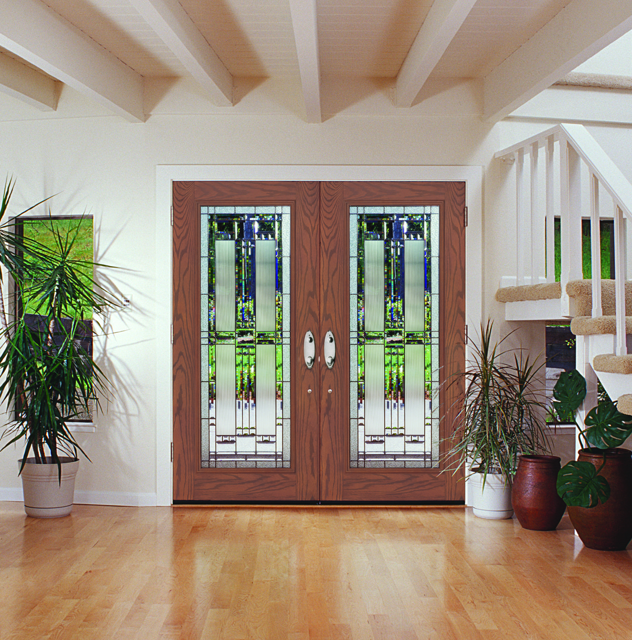 Create an elegant charm with a heritage textured for Storm doors for french doors