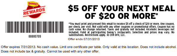 image regarding Dennys Printable Coupons called $5 off $20 at Dennys Printable Coupon Printable Discount codes