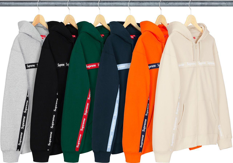Supreme Text Stripe Zip Up Hooded Sweatshirt Bts Clothing Hooded Sweatshirts Cool Shirts [ 900 x 1283 Pixel ]