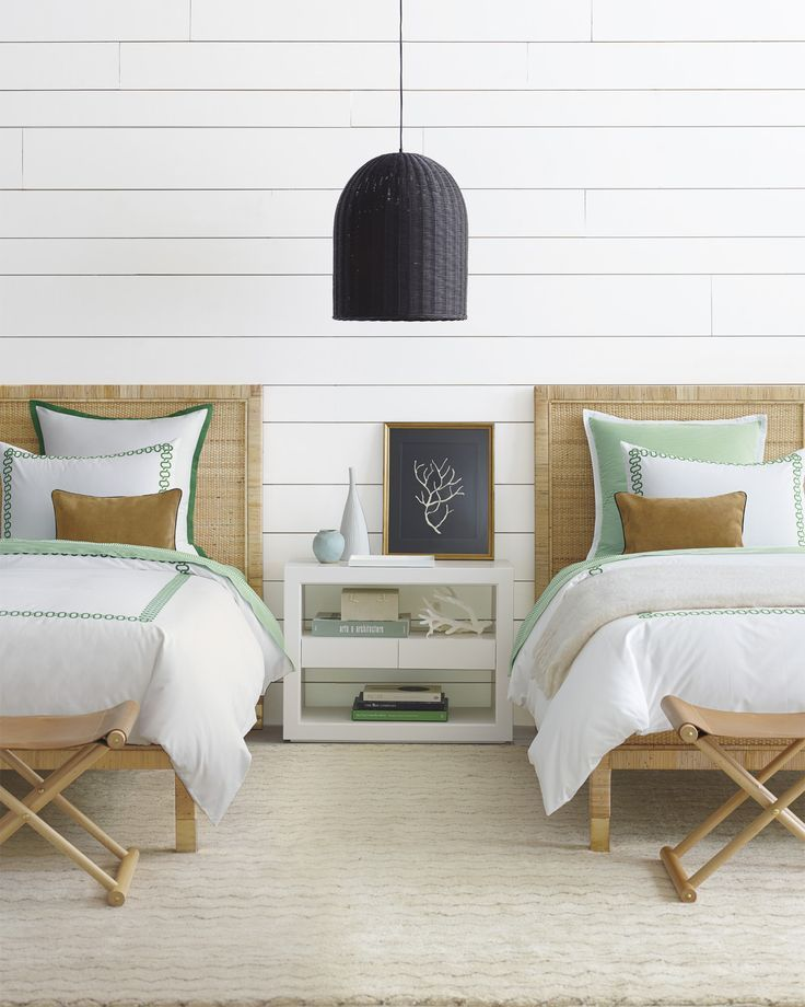 We Love This Simple Bedroom With A Rattan Light Pendant