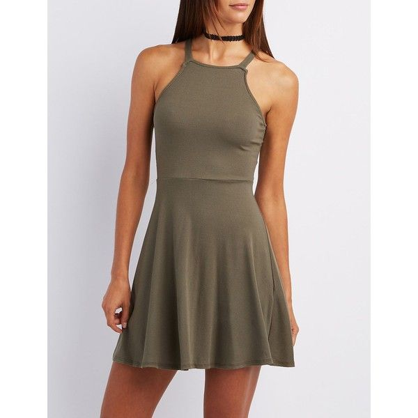 Charlotte Russe Ribbed Bib Neck Skater Dress ($25) ❤ liked on Polyvore featuring dresses, olive, skater dress, olive green dress, brown dress, army green dress and strap dress