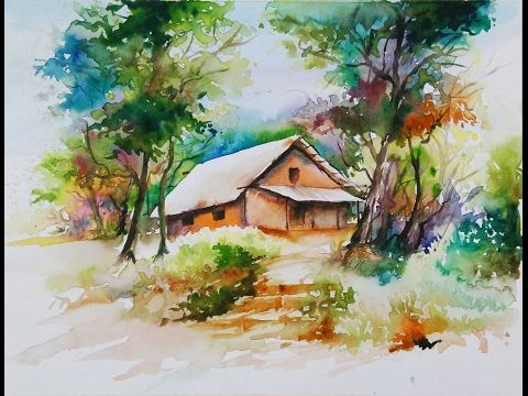 12 Watercolor Painting For Beginners Village Forest House Scenery