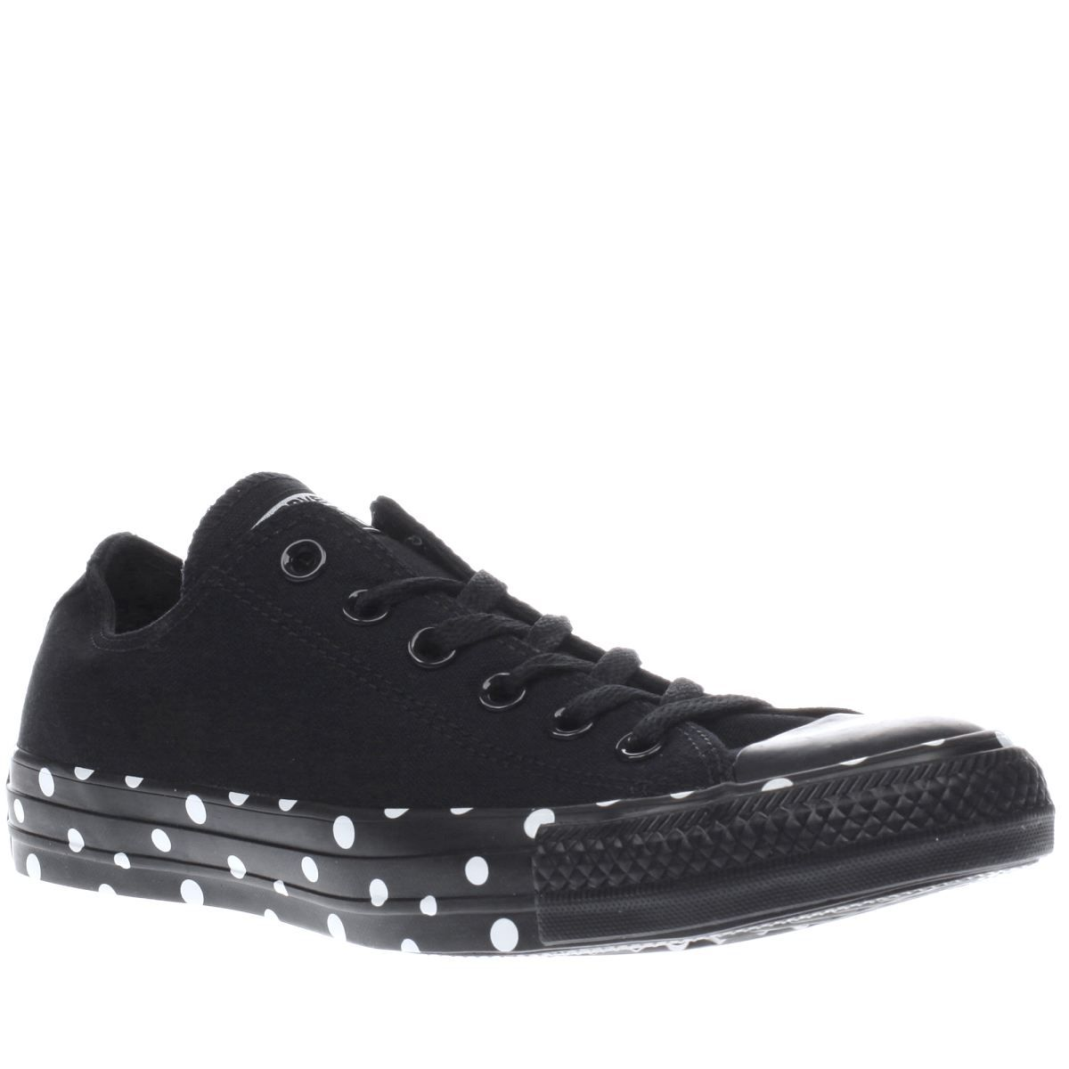 womens converse black white all star polka tape ox trainers