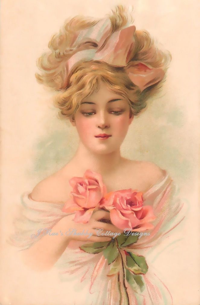 65 Lovely Pink Nail Art Ideas: Lovely Victorian Lady Gorgeous Pink Roses Repro