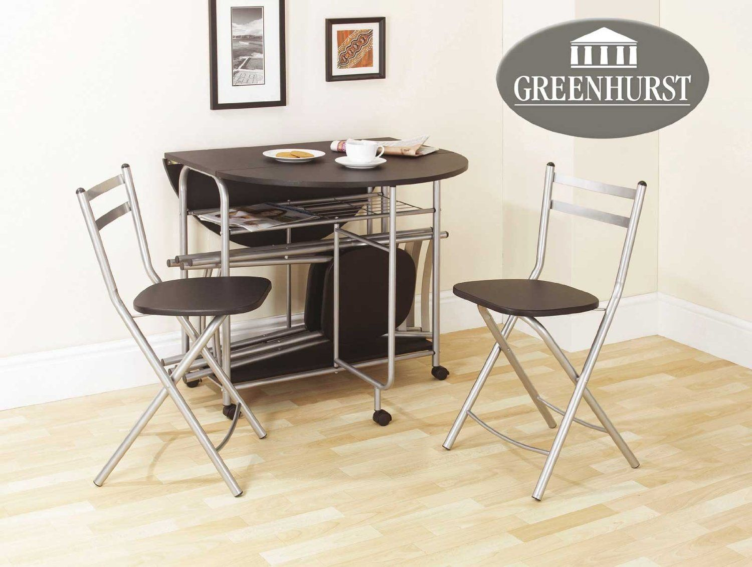 Furniture Modern Foldable Dining Table Shelves Underneath And Folding Side Chairs Stow Away Drop Leaf Set Erfly Console