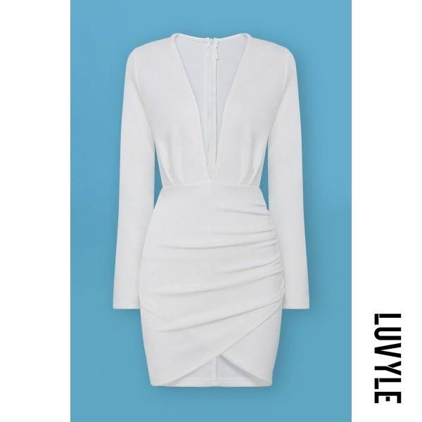 AdoreWe  Luvyle Womens - Luvyle White Plunge Ruched Wrap-Style Dress -  AdoreWe.com b76dcb2018