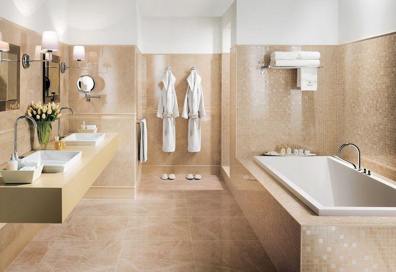 Brown and white #ceramic #bathroom with orange details on #walls - badezimmer modern beige grau