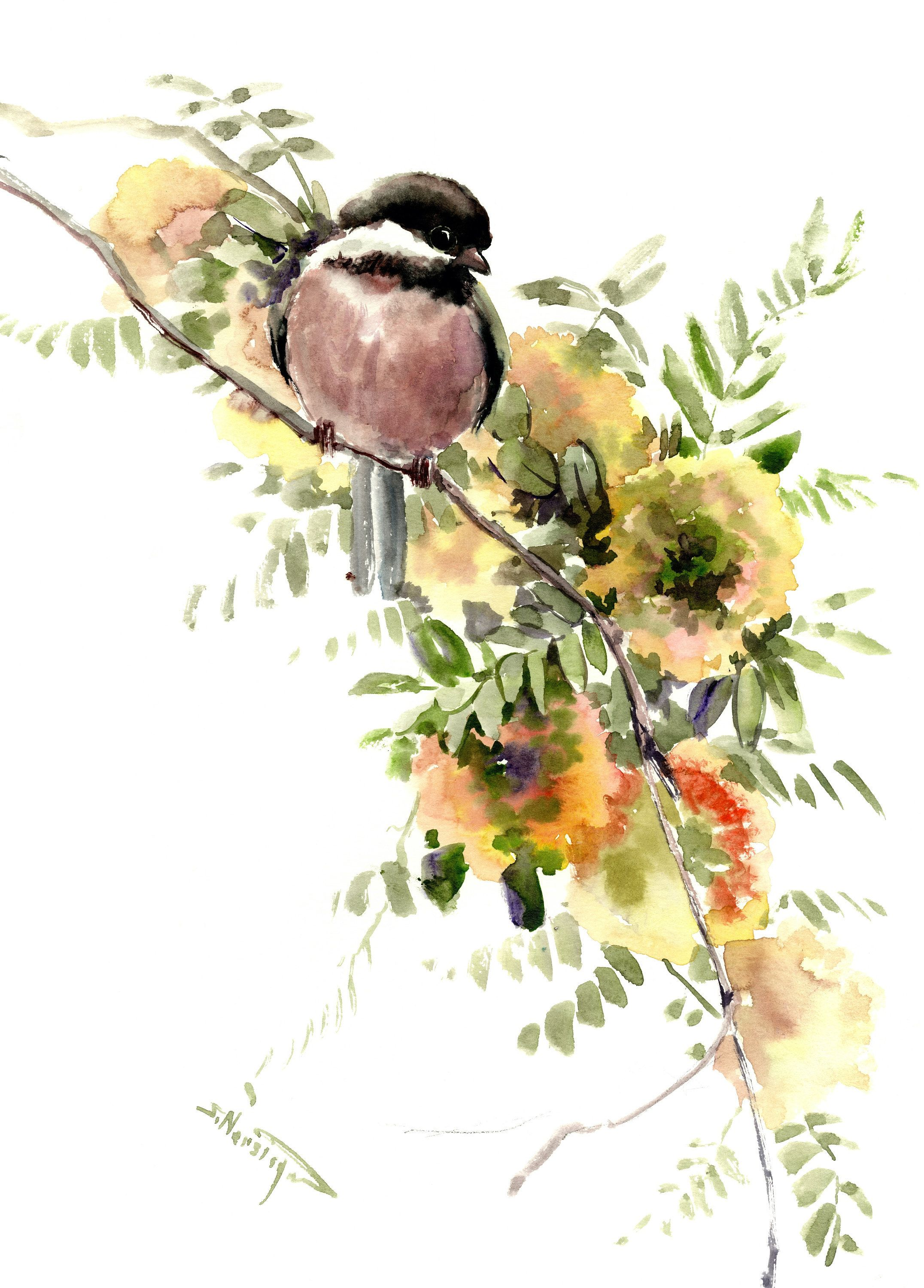 Chickadee And Flowers Original Watercolor Painting By