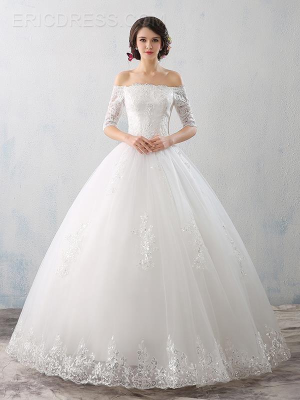 Elegant Off The Shoulder Half Sleeves Ball Gown Wedding Dress ...