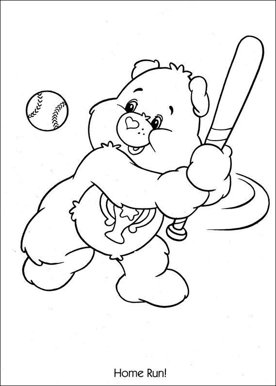 care bears coloring pages to print | Care Bears Baseball Home Run ...