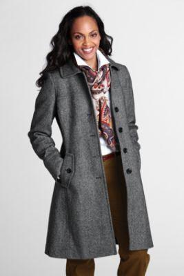 Women's Pattern Wool Swing Car Coat from Lands' End | Fall/Winter ...