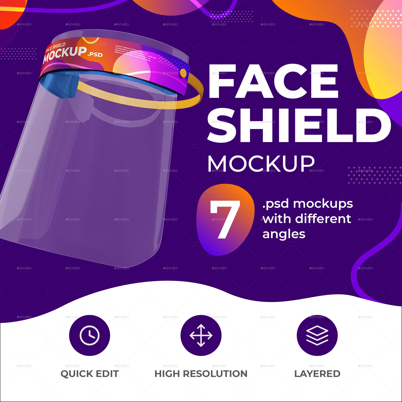 Face Shield Mockup Mockup Face Shield Different Angles