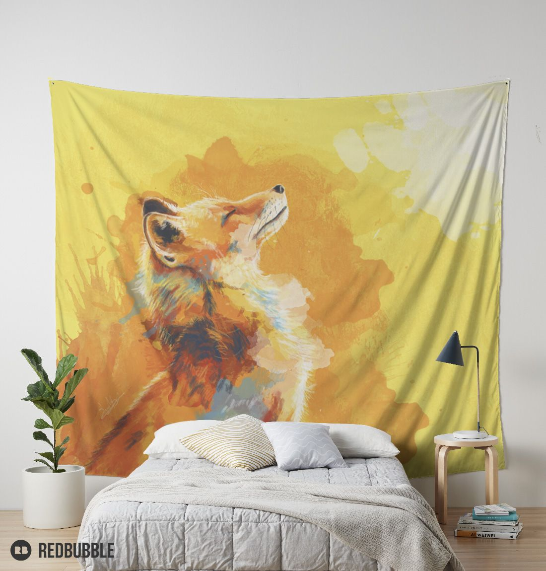 Wall tapestry featuring a colorful digital painting of a fox smiling ...