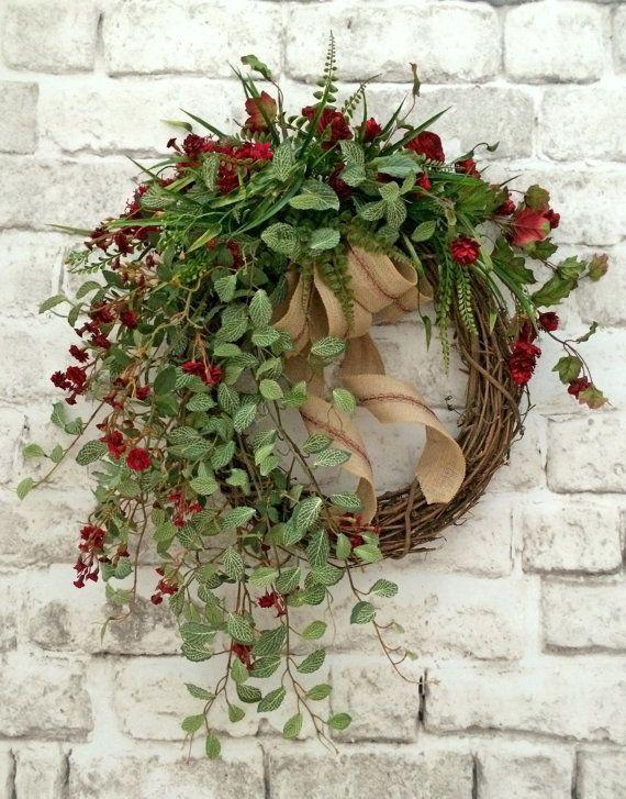 Red Floral Fall Wreath For Door, Fall Decor, Front Door Wreath, Autumn  Wreath