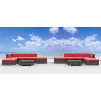 Urban Furnishing Laguna 12 Piece Outdoor Wicker Patio Furniture Set - 12A-LAGUNA-CORALRED