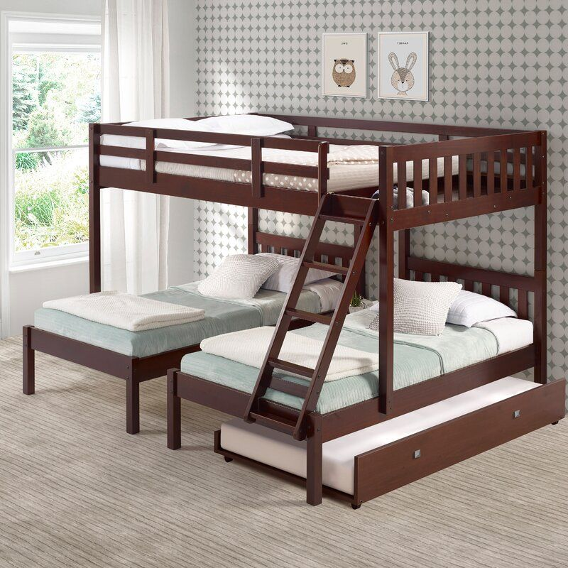 Abye Twin Over Twin Over Full Triple Bed With Trundle In 2020 Bunk Bed With Trundle Triple Bed Diy Bunk Bed