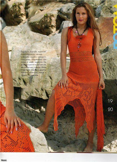 Orange dress, filet work with diagrams