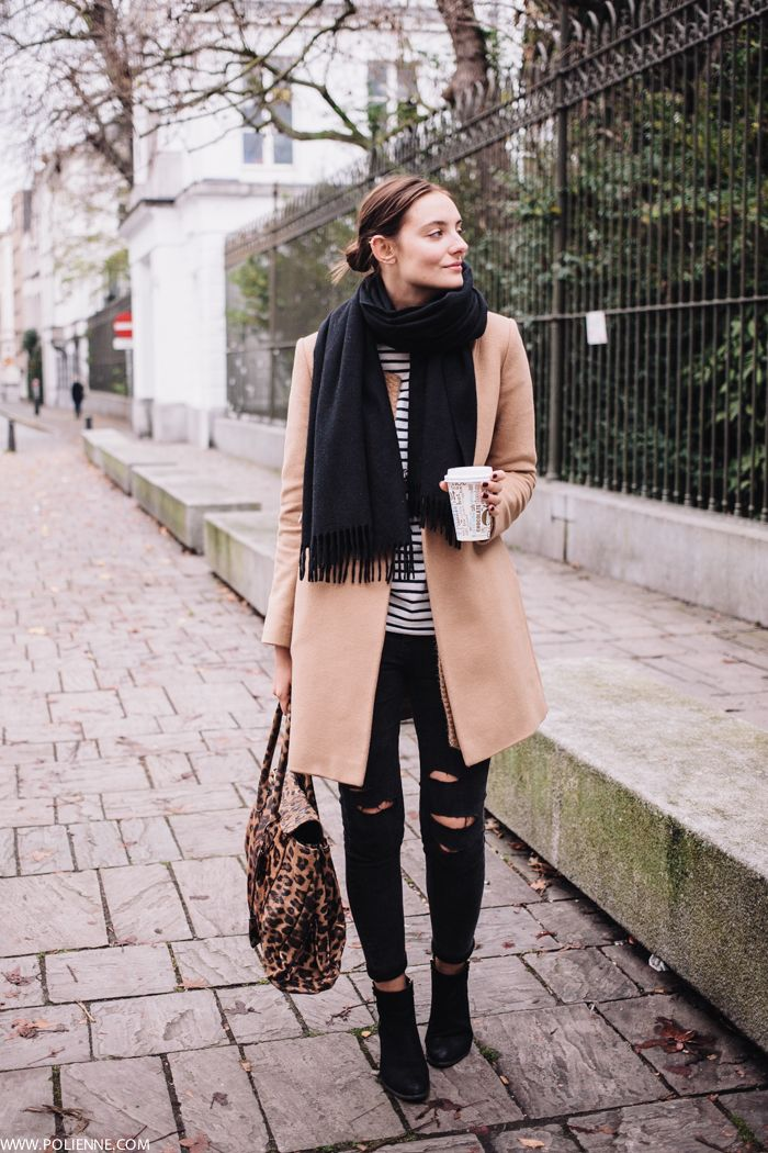 Blogger Style | Polienne: camel coat x ripped skinny x striped shirt x leopard print bag