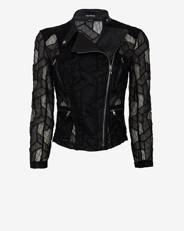 Yigal Azrouel Lace Moto Jacket | Shop IntermixOnline.com