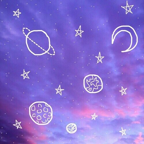 aesthetic, blue, outer space, outlines, pink - image ...
