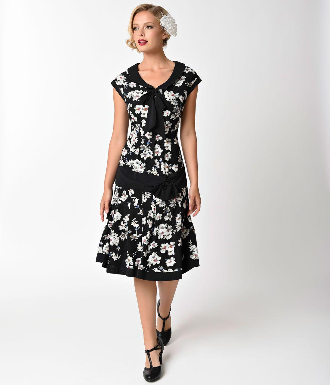 1920s Style Dresses Unique Vintage 1930s Style Black Ivory Floral Twyla Flapper Day Dress 110 00 At Vi 1920s Fashion Dresses 1920s Fashion Casual Day Dresses [ 1275 x 1095 Pixel ]