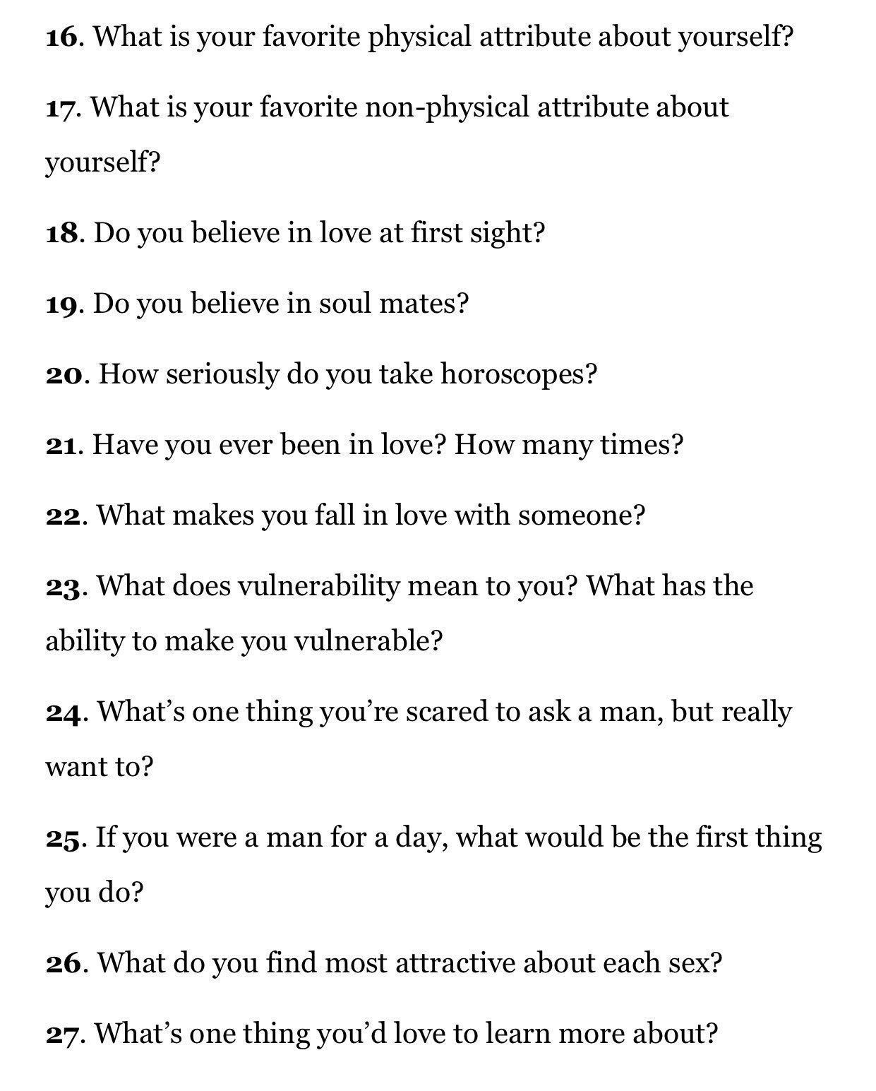 Really good questions to ask a girl