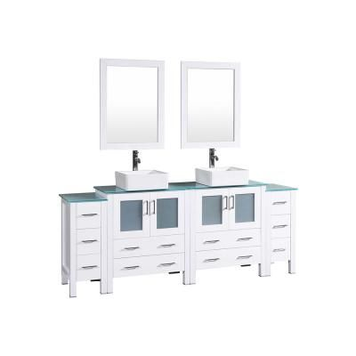 Bosconi 84 In W Double Bath Vanity In White With Tempered Glass