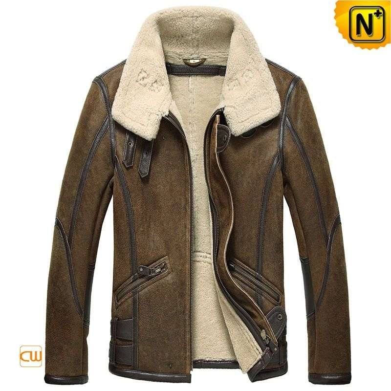 Mens Sheepskin Aviator Jacket CW860209 | Coats &amp Jackets