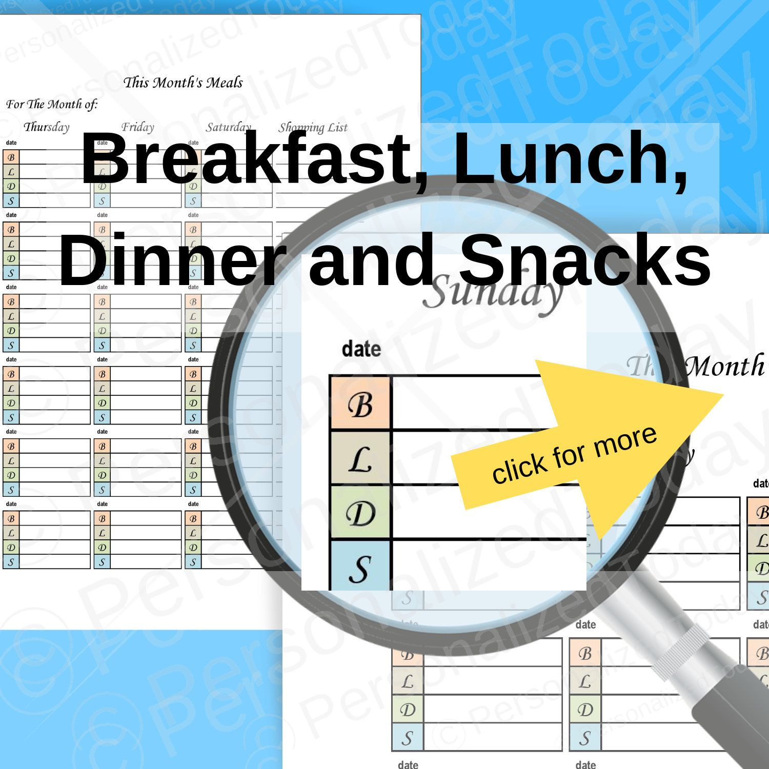 Monthly Menu Meal Planning Printable PDFs Set Undated