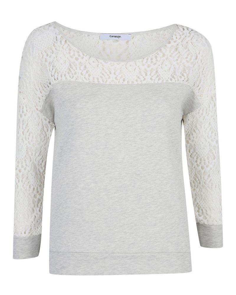 Black t shirt asda - Lace Shoulder Sweatshirt Women George At Asda
