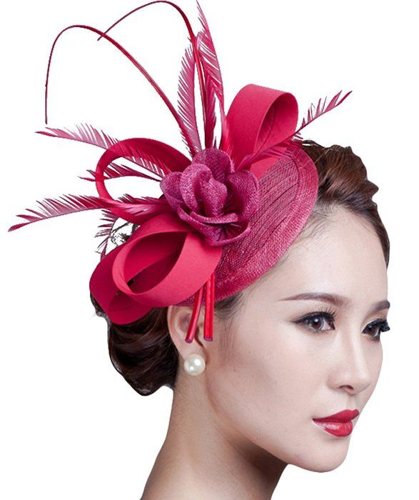 09df81ea1d1 Sinamay Fascinator Hat Feather Party Pillbox Hat Flower Derby Hat for Women