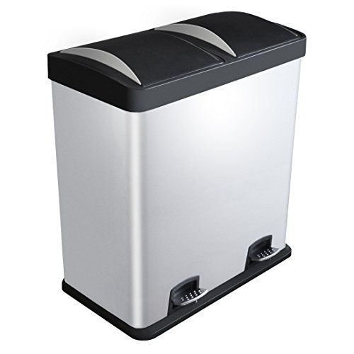 Kendan Stainless Steel 60 Litre Pedal Recycle Dustbin Recycling Inner Compartment Section Garbage Eco Waste Kitchen Binsrecyclingstainless