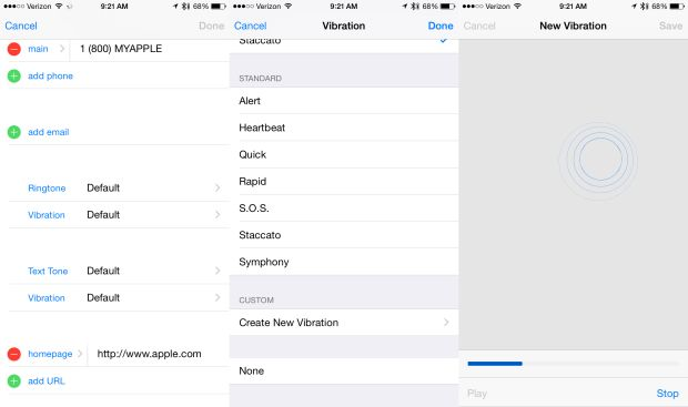 Set a custom vibration alert for iMessages in iOS 8.