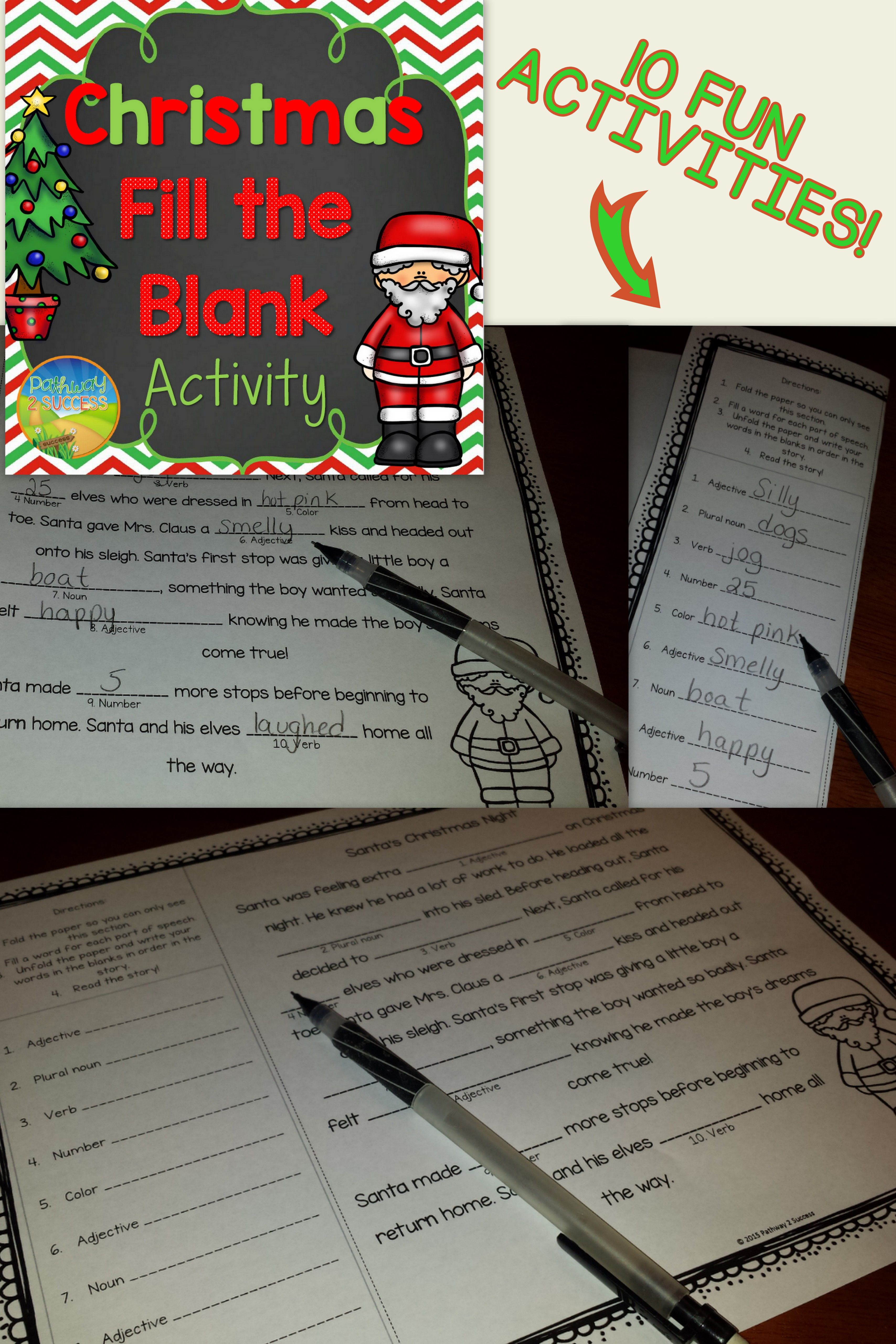 Christmas Fill In The Blank Activity