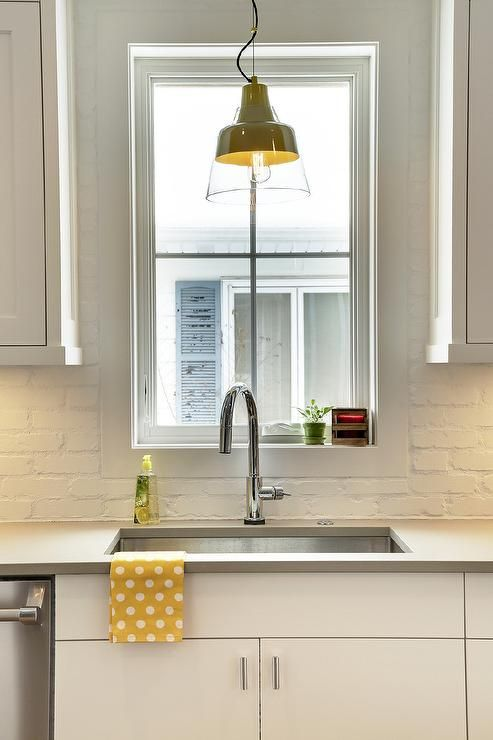 Best Yellow And Grey Kitchen Features White Flat Front Cabinets 400 x 300