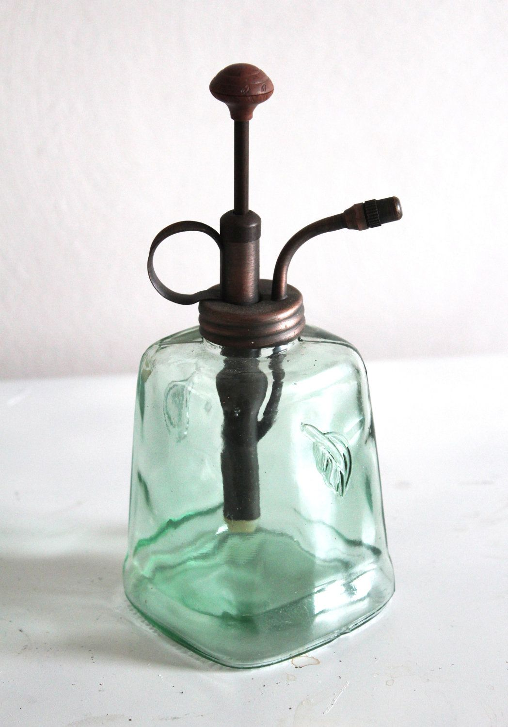 Vintage Bathroom Soap Dispenser Vintage Glass Soap Dispenser Rustic Green Glass Soap