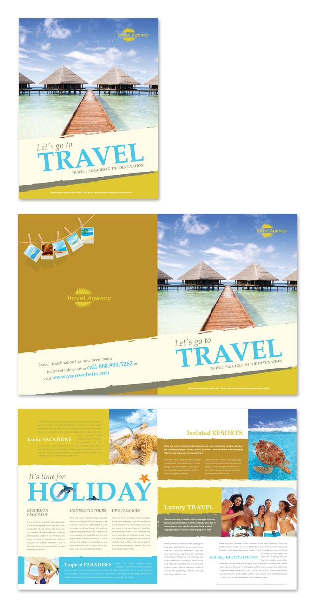 Travel agency brochure template for Tour brochure template