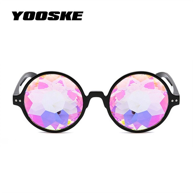 c0895e58190a YOOSKE Round Kaleidoscope Glasses Women Retro rave festival Colorful Party  holographic Sunglasses Catwalk Show Holograp Glasses