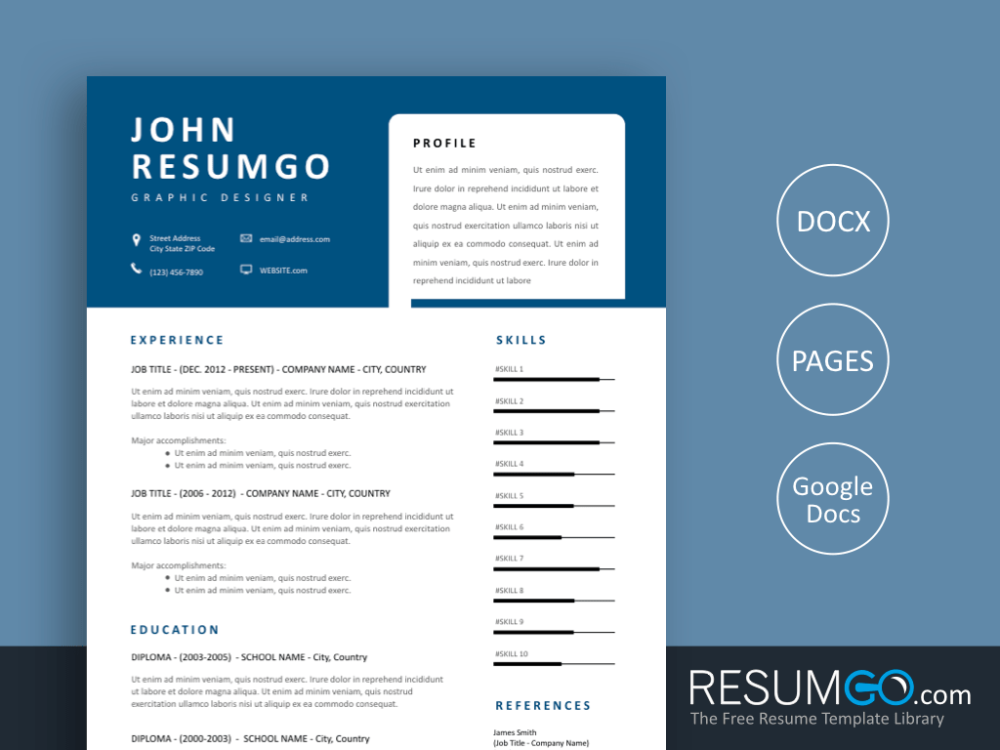THANOS Modern Resume Template with Unique Blue Header