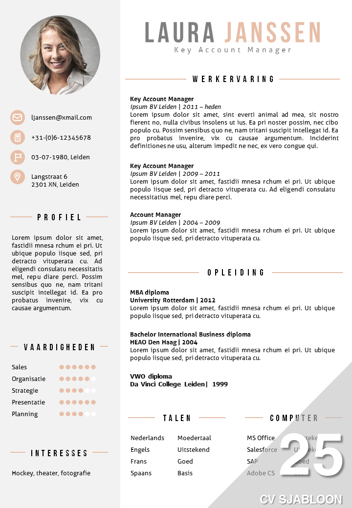 Cv Sjabloon 25 Resume Cv Template Templates Resume Templates