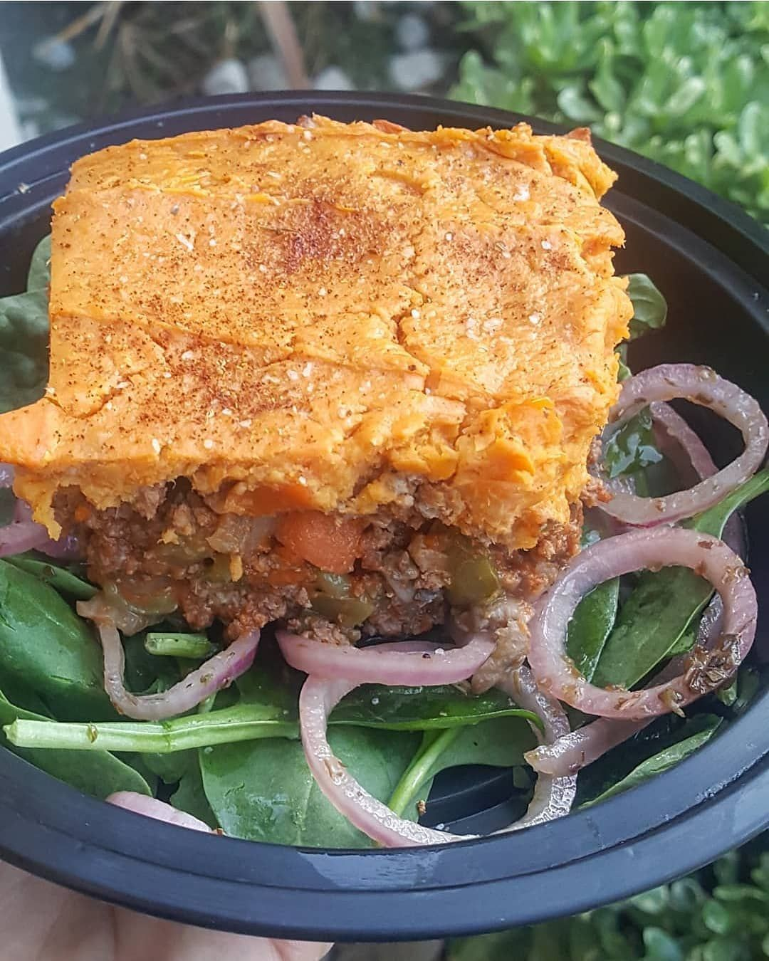 Lunch was leftovers from yesterdays Shepard pie with sweet potato filling by @therealfoodrds.  This is a must try recipe.  It is honestly one of my favorite go to meals.  I always double the recipe so I can have plenty of leftovers for the week.  I sat mine on a bed of spinach and marinated onions for some extra vegies.  #whole30approved . . . . . . . . . . . . . . . . . . . #lunch #shepardpie #shepardspie #sweetpotato #healthy #healthierme #healthylifestyle #weightloss #weightlossjourney #weigh #shepardspie