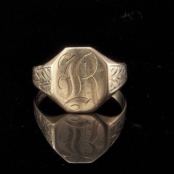 Gold Mens Ring  Antique Victorian 10k Rose Gold by EtsyClassic, $145.00