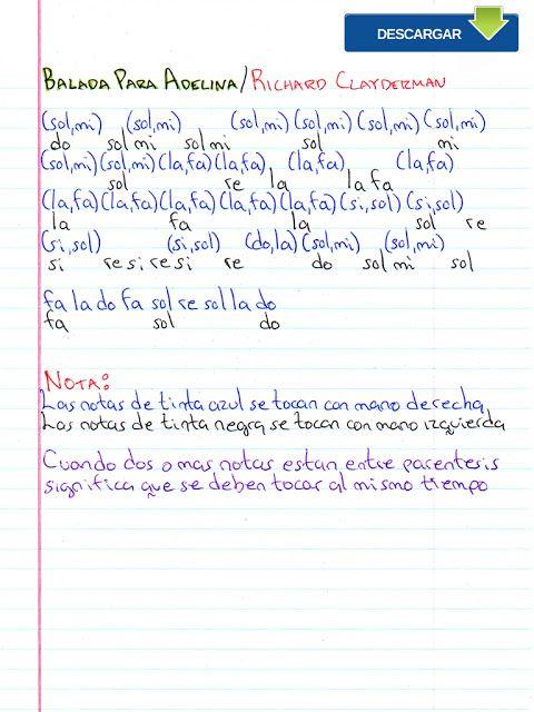 Notas Musicales Balada Para Adelina Richard Clayderman Notas Musicales Video Tutorial Balada Para Adelina Notas Musicales Partituras De Canciones