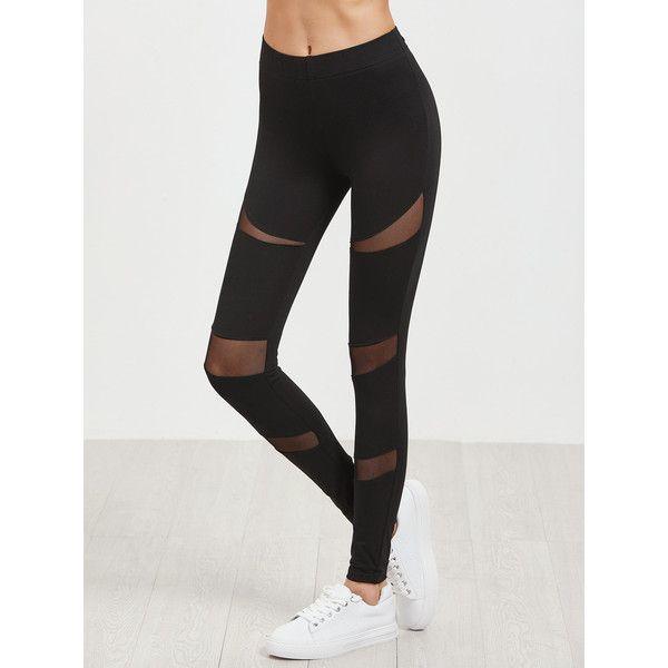 SheIn(sheinside) Black Mesh Insert Leggings (200 ARS) ❤ liked on Polyvore featuring pants, leggings, mesh inset leggings, stretch pants, cotton stretch leggings, stretchy leggings and legging pants