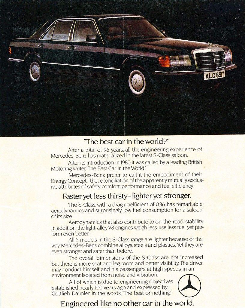 Mercedes Benz In 80 S Mercedes Werbung S Klasse Oldtimer Autos