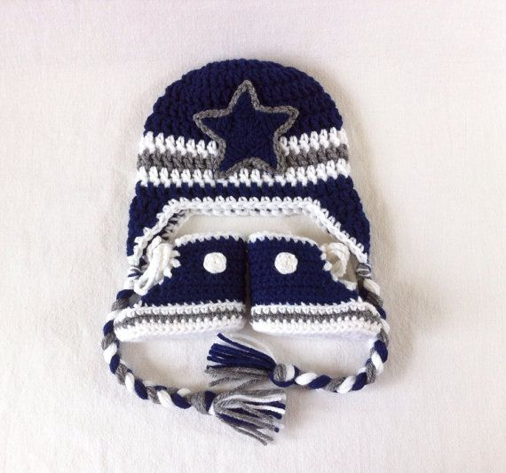 14e1d67f570 Dallas Cowboys Converse Booties and Earflap Hat for baby by  BeesBootiesAndMore Football baby gear