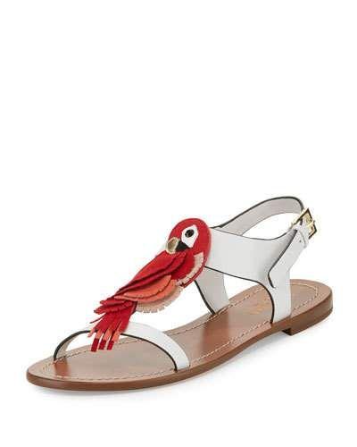 X386H kate spade new york charlie parrot t-strap sandal, white/multi