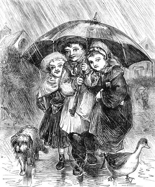 Vintage Pictures - Image 8 :: Home from School - Three children under a big umbrella in a rain storm