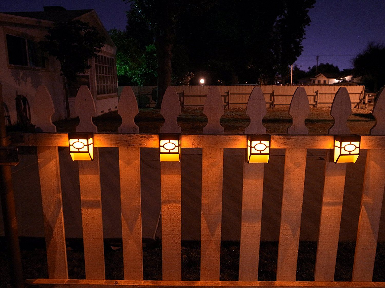 Upgrade Solar Powered Wall Mount Lights Landscape Garden Yard Fence Outdoor Warm Lights 8pc Amazon Com Solar Patio Patio Fence Wall Mounted Light